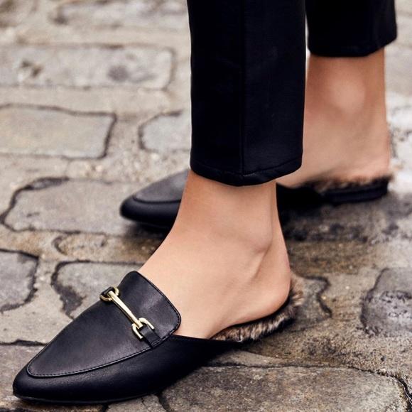 8b2b142790 Lulu's Shoes | Antonia Black Faux Fur Loafer Slides | Poshmark
